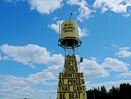 Milaca Unclaimed Freight water tower signage