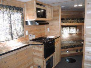 kitchen area in trophy hunter ice castle
