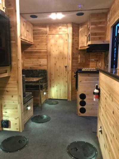 inside hybrid RV 8x17v ice castle fish house