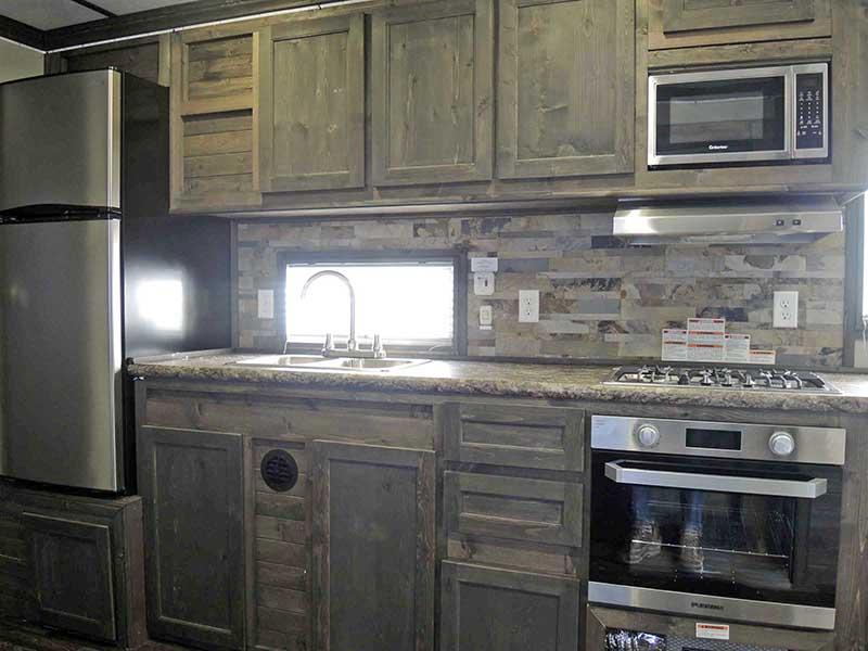 Kitchen Area Interior of Black Knight Ice Castle Fish House