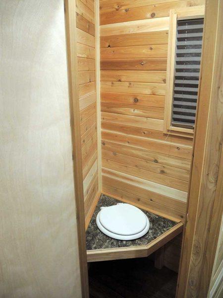 Bathroom interior of America Ice Castle Fish House